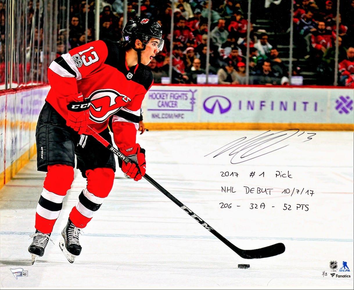 buy online 1cc7e fe218 Nico Hischier Autographed New Jersey Devils L/E 16x20 Photo